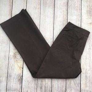 Rafaella Brown Pants Flat Front Cotton Stretch